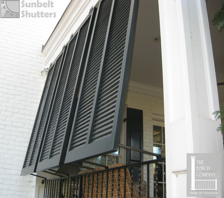 Sunbelt Shutters Closed Louver Style Bahamas Are Used For Privacy Plus Shade On This Porch
