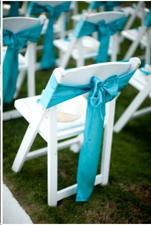 Wedding Pool blue chair tiebacks/napkins/table runners