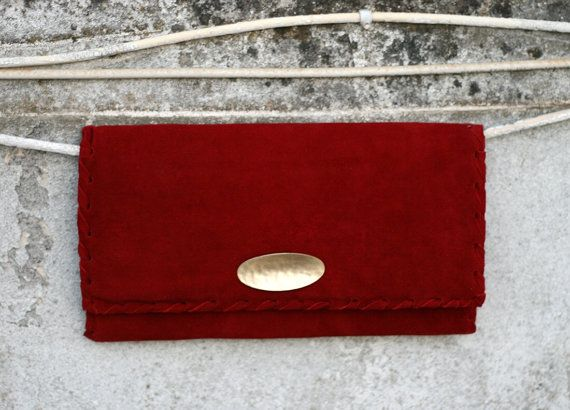 Red Leather Clutch  Suede Evening Envelope Purse by EleannaKatsira
