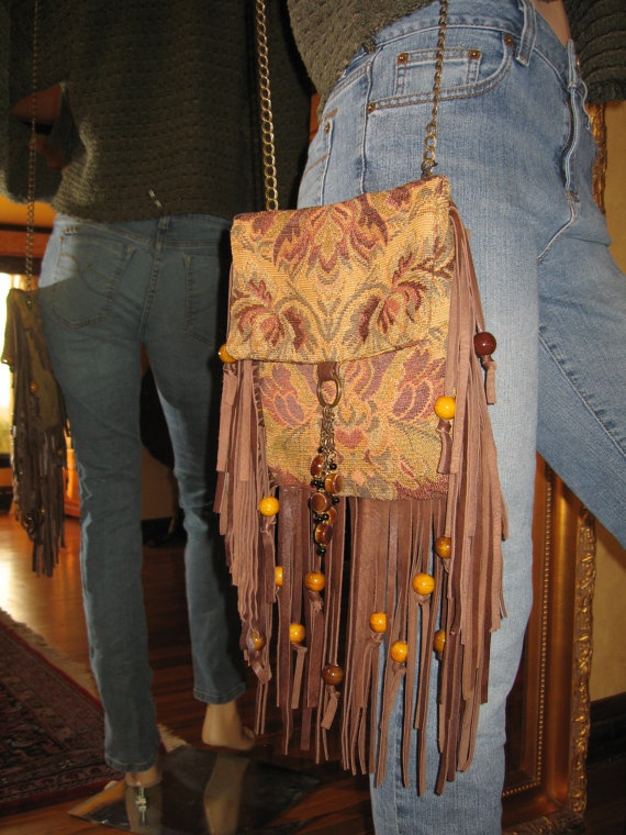 Leather Fringe Cross Body Tapestry BOHO  Bag by Vacationhouse, $145.00