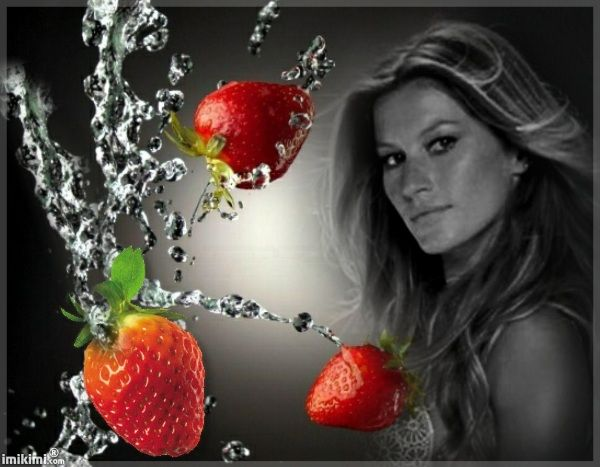 black & red love. Strawberries. Click to add your photo