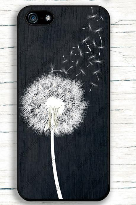 Dandelion on Black Wood Design Case for iPhone 4 4s 5s 6 6 Plus 6s 6s Plus, Samsung Galaxy S3 S4 S5 S6 S6 Edge S7, LG G3, LG G4, HTC One M8, HTC One M9, Sony Xperia Z3