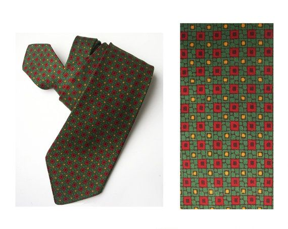 1950s necktie London silk  tie fabric unique Mens by MensSilk
