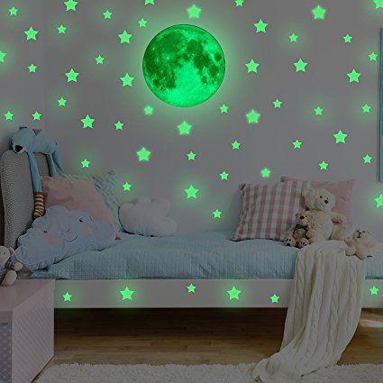 FESKIN 30cm Luna Adesivi da Parete fluorescenti e brillanti al buio + 26 Pezzi Stelle Decorazione da Parete - Casa Camera da Letto Soggiorno, Regalo di Feste Natale Compleanno per Bambini