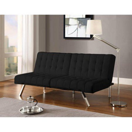 Emily Convertible Faux Leather Futon, Multiple Colors [Full Double Sleeper/Black]
