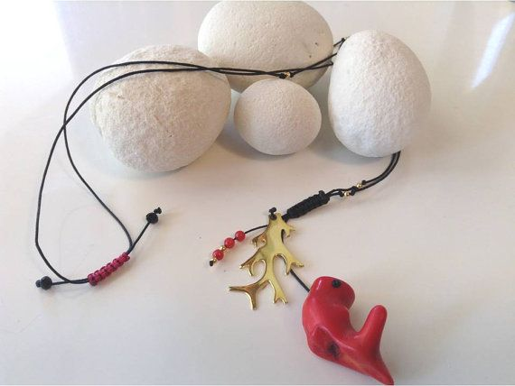 Long Necklace 24K Gold plated silver Real Coral by PlusLoveStudio - 23,00euro