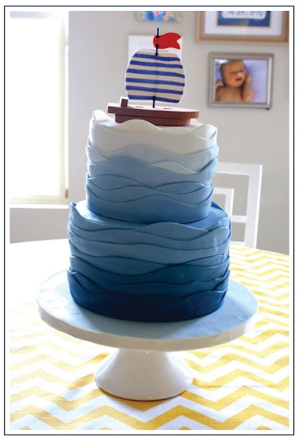 Nautical Cake @Nicole White @Laurel Johnson I like the idea of ombre wave looking. Maybe not fondant strips..