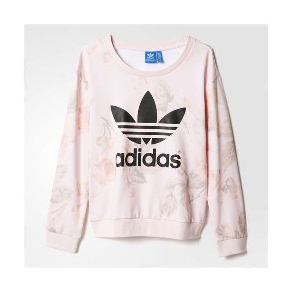 adidas Pastel Rose Sweatshirt ($49) ❤ liked on Polyvore featuring tops, hoodies, sweatshirts, adidas, sweat tops, adidas tops, sweatshirts hoodies and rose tops