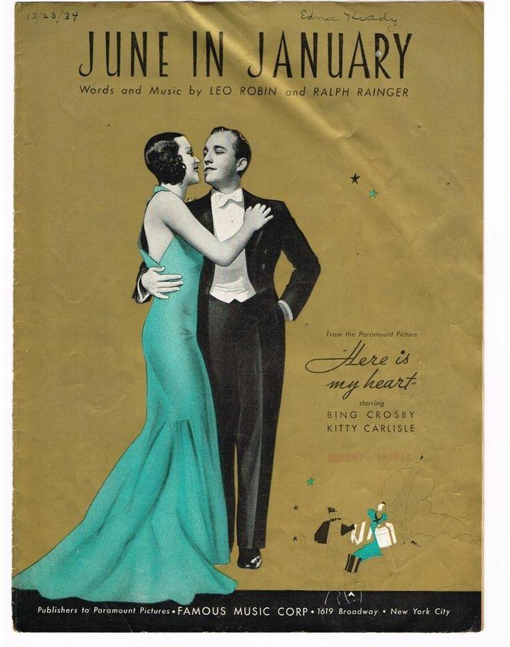 june in january from hear is my heart bing crosby kitty carlisl 1934 sheet music