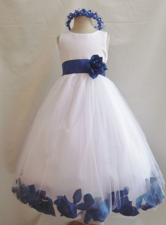 Flower Girl Dress WHITE w/ Blue Royal PETAL Wedding by mykidstudio, $38.00
