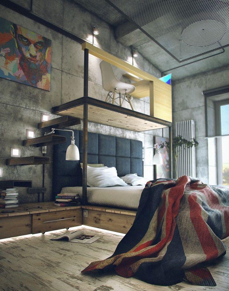 Aproveitamento de espaço bem elaborado, com pé direito mais alto. O ambiente tem um pequeno escritório ou espaço para estudos e entretenimento acima da cama. Detalhe para a boa composição de elementos.