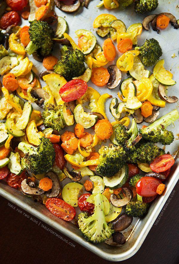 A big batch of roasted vegetables.