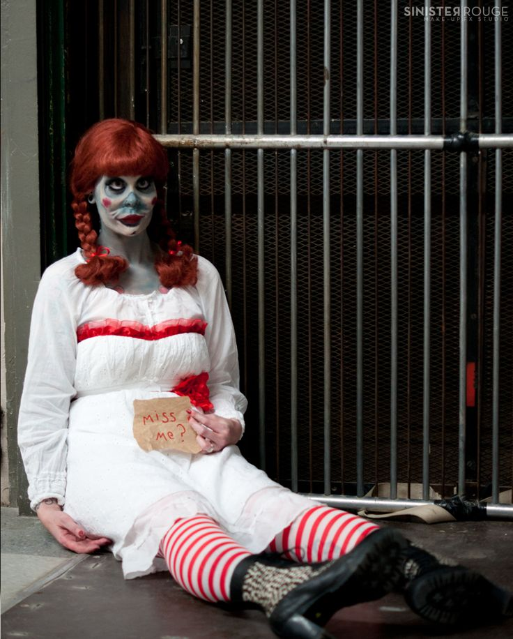 annabelle costume: white dress with red ribbon