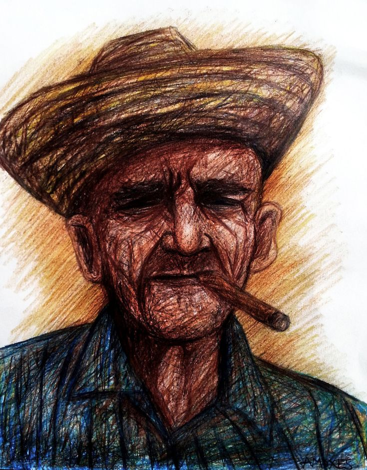 The man from Viñales Coloring pencils on paper 11x14 inches
