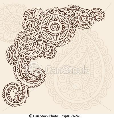 Vector - Henna Mehndi Paisley Doodles Vector - stock illustration, royalty free illustrations, stock clip art icon, stock clipart icons, logo, line art, EPS picture, pictures, graphic, graphics, drawing, drawings, vector image, artwork, EPS vector art