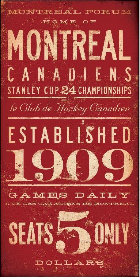 Art graphique original du club de hockey Les Canadiens de Montréal