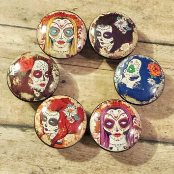 6 Handmade Lady Sugar Skulls Knob Drawer Pulls Birch Wood