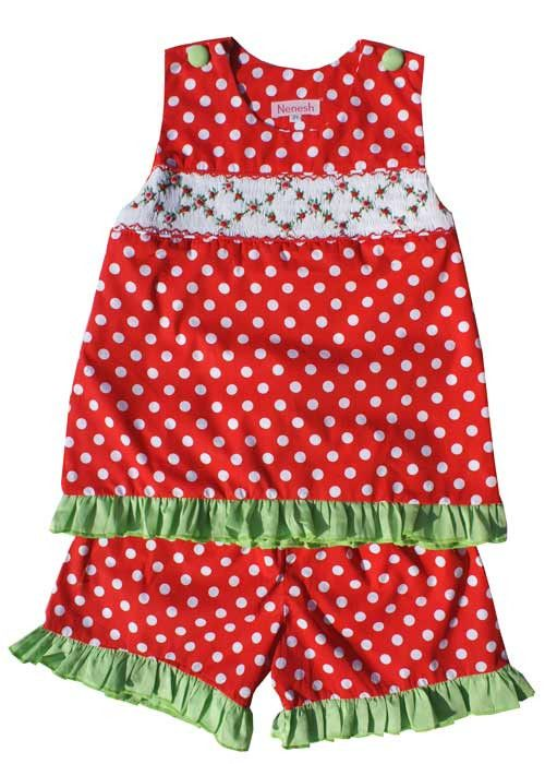 Rose and Red Polka Dots Smocked Girls Dress Set – Carousel Wear