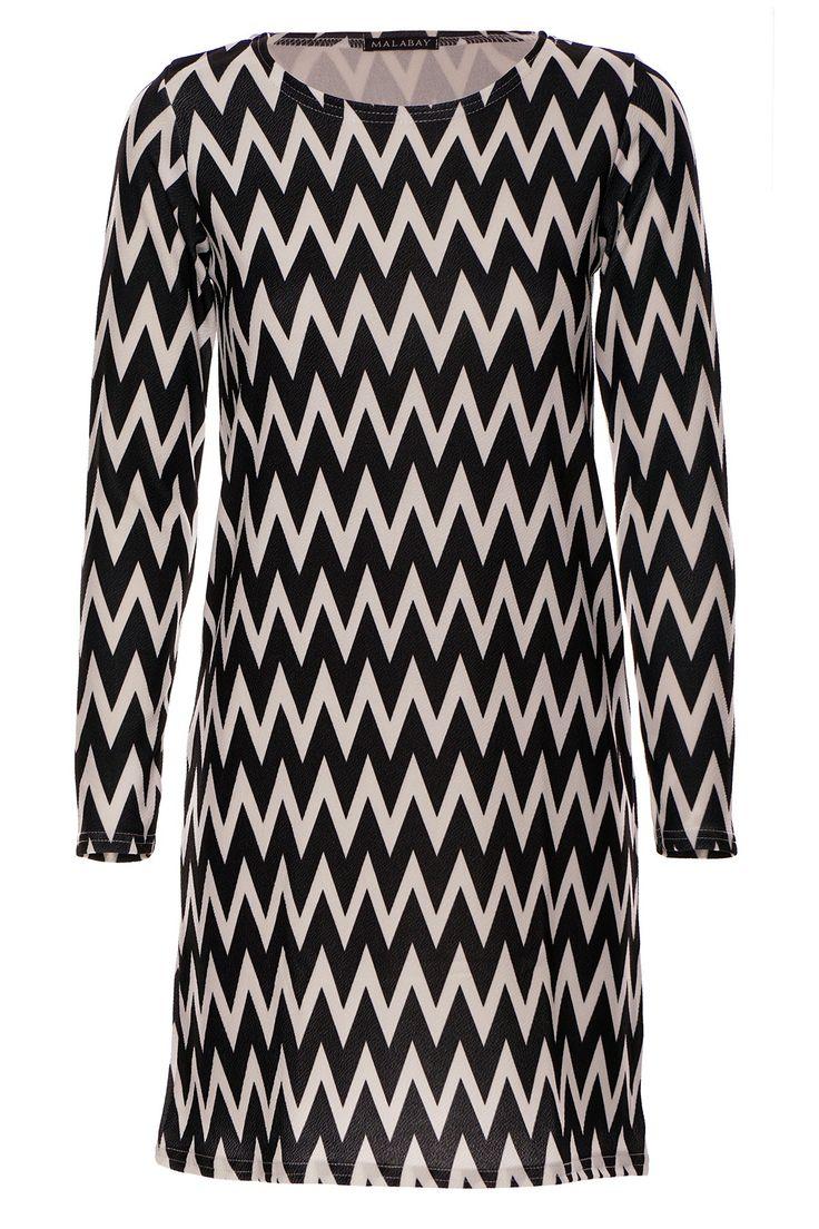Sukienka tunika aztek monochrom biało czarna