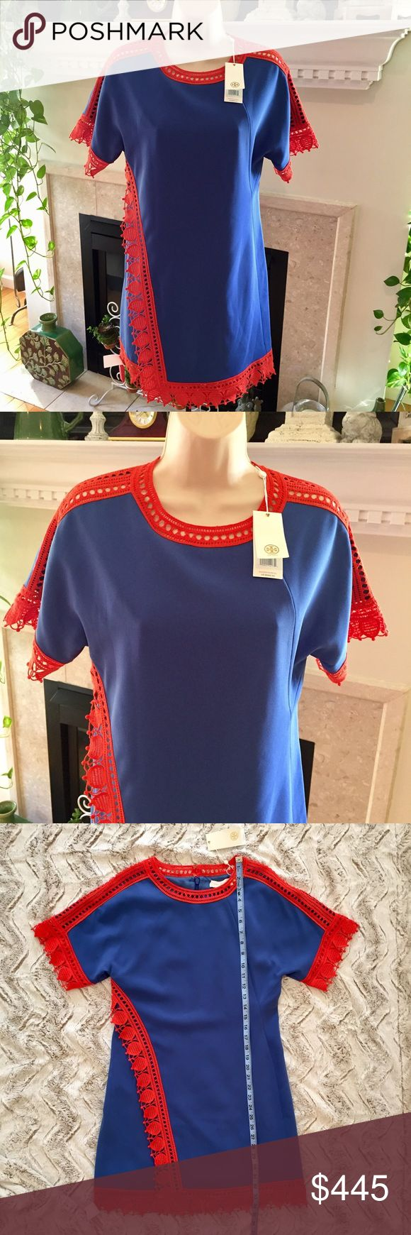 TORY BURCH SHIFT DRESS BLUE ORANGE SIZE 2👗 NEW WITH TAGS TORY BURCH shift dress.  Size 2. 100% polyester.  Blue with dark orange scalloped trim.  See pictures for measurements.  Suggested Retail Price is $595.00.  NCMCOLLECTIONS 💐👗 Tory Burch Dresses