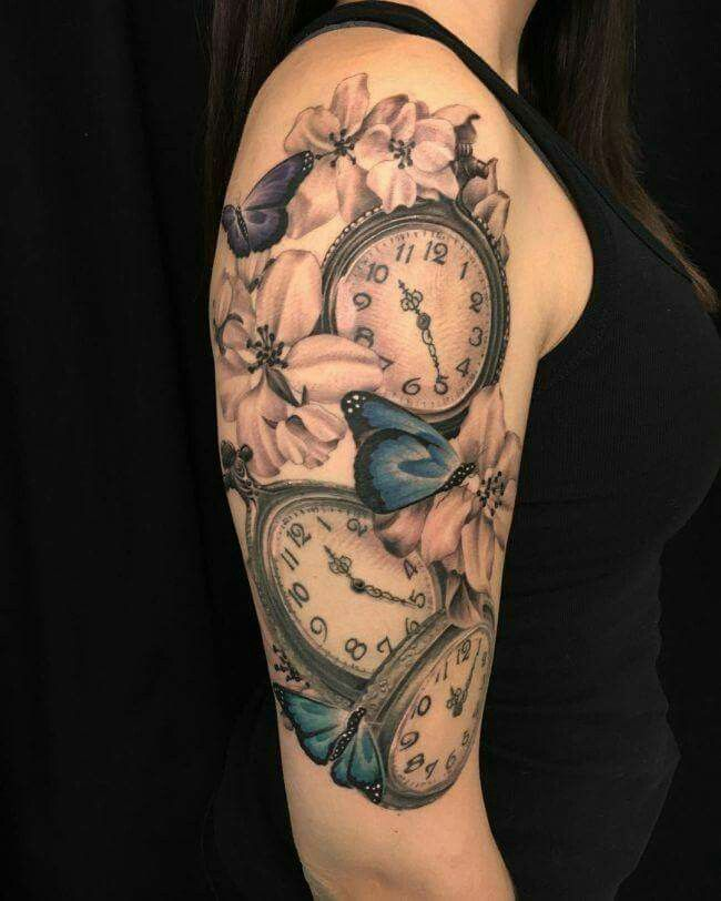 This will be my next tattoo for my sleeve but want kids names and birthdays inside watches