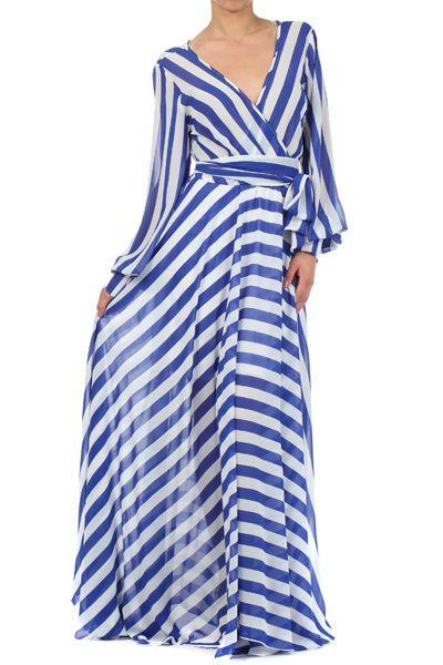 Dresses-Black Sripe Wrap Chiffon Dress-Printed Chiffon Maxi