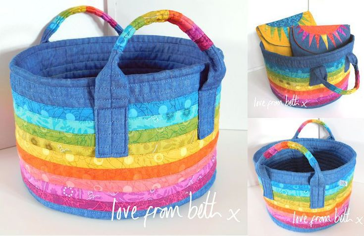 NEW PATTERN: A bright and practical storage basket that is sturdy and straight forward to make. It uses basic strip piecing to create a fun rainbow stripe design that extends to the handles to complete the look. It could also be made in a simple two-colour stripe for a more nautical feel. Perfect for storing craft supplies or other bits and bobs around the house. The pattern is fully illustrated with step by step photos of all the stages.