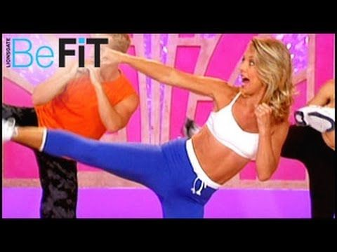 Denise Austin: Kickboxing Cardio Fat Blast Workout is an explosive, fat-burning cardio routine that employs martial arts-inspired exercises to boost the metabolism to tone the entire body and ignite your weight-loss potential.