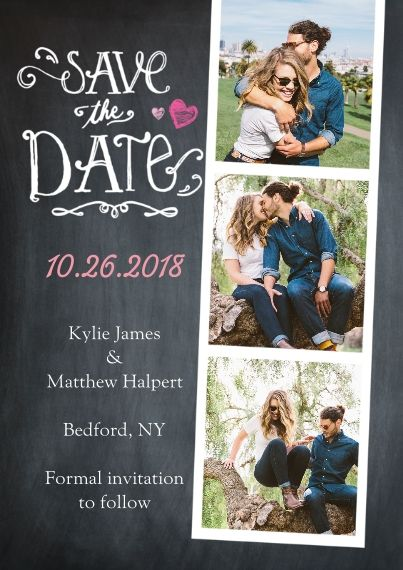 Save the Date Cards by Snapfish. Ability to personalize both front, back and insides of card with design + photo options. Available in 110 or 130 pound card stock or in glossy or matte photo paper and envelopes are included in shipment.
