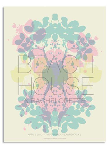 Beach House concert poster, Kansas- Apr 6, 2010. Design by Vahalla Studios (Valhalla Studios).