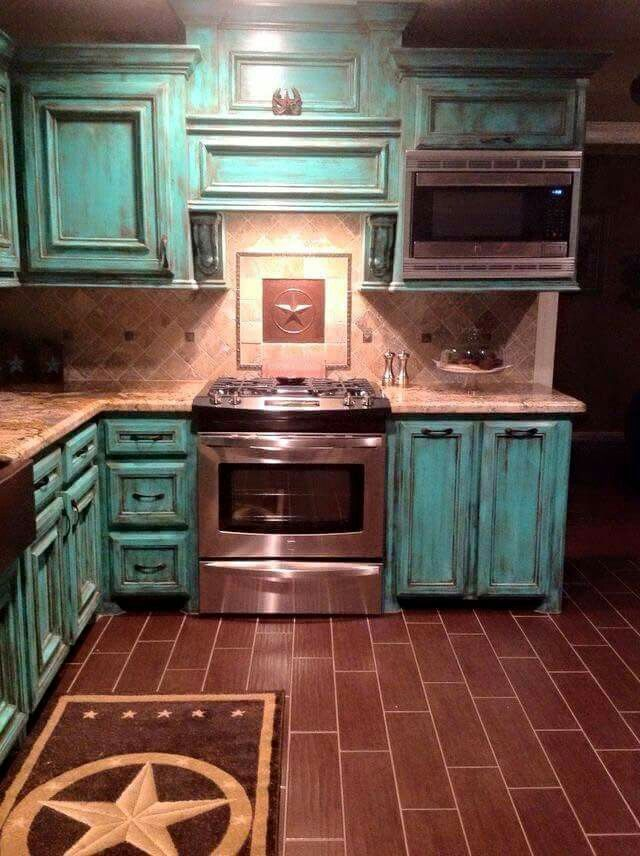Kitchen cabinets with navy blue though
