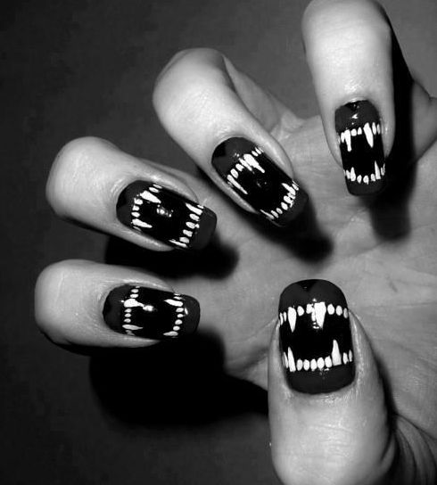 Nails - would be better if teeth begin at nail tip & bottom, not in the middle like this, but fun idea.