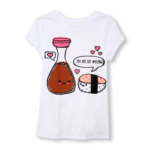 cca72933b s Short Sleeve 'You Are Soy Amazing' Sushi And Soy Sauce Graphic Tee -  White T-Shirt - The Children's Place | *Flashsale|newarrivals|u3669m* in  2019 ...