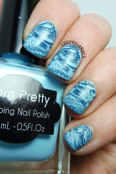 Blue MoYou stamping nail art #nailart #stamping #moyou #lightyournails