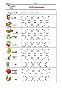 La monnaie: affiche, leçon et exercices CE1-CE2