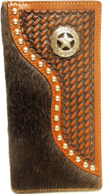 (WFAC93S) Western Hair-On/Basketweave Rodeo Wallet/Checkbook Cover with Star Concho