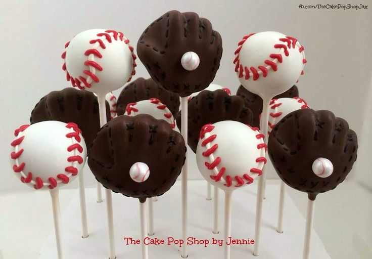 Baseball and Baseball glove cake pops