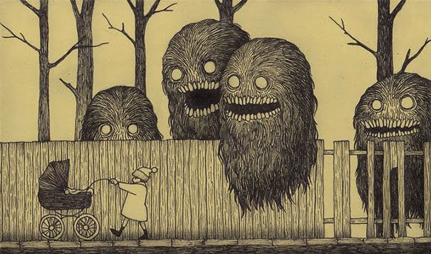 Danish artist John Kenn Mortensen (who goes by Don Kenn on Tumblr and other sites) taps into the terror of our childhood nightmares with brilliant and terrifying monster drawings that he does on sticky notes.