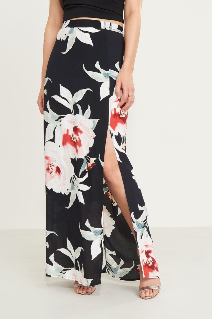 See you peaking. Floral Maxi Skirt With Slit