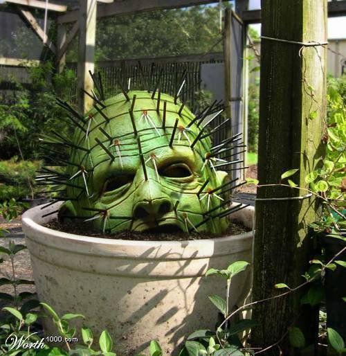 hellraiser cactus halloween decoration for a gory garden