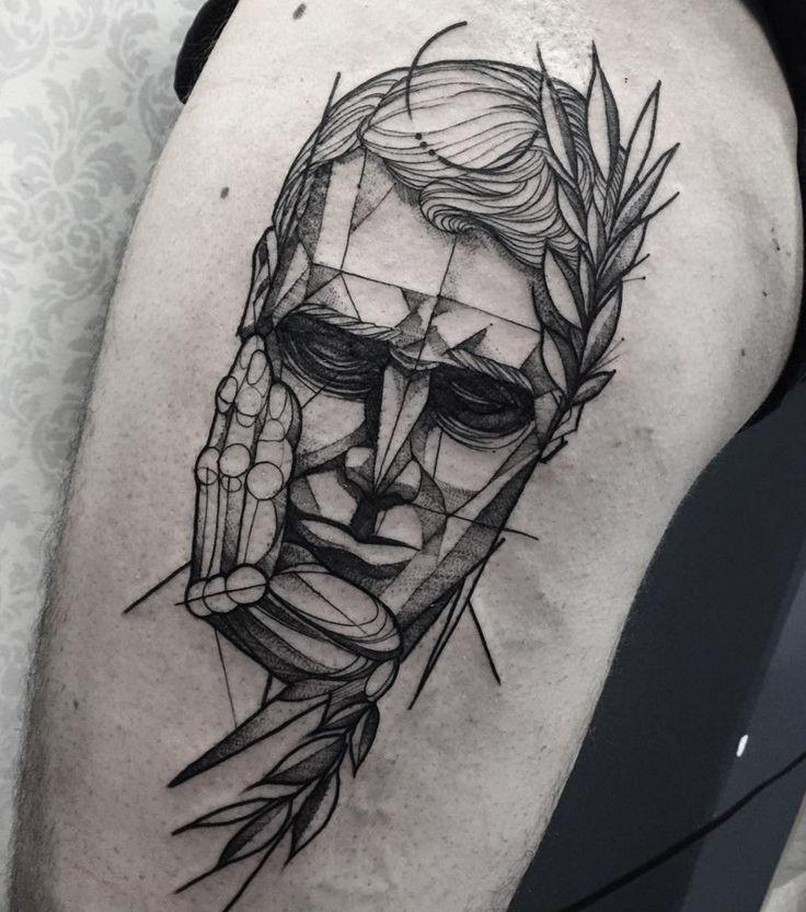 Blackwork Tattoo : Black Work Tattoo Of Realism Face
