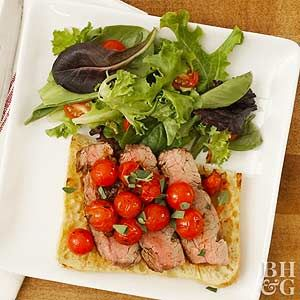 Serve these open-faced steak sandwiches with a side salad for a fresh and speedy summer supper.