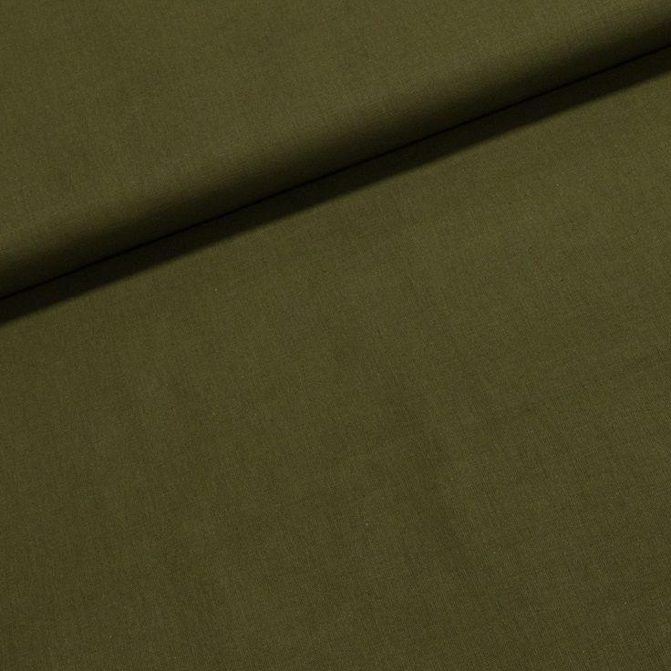 Bavlněné plátno jednobarevné KHAKI uni zelená khaki, š.140cm (látka v metráži) | Internetový obchod Chci Látky.cz