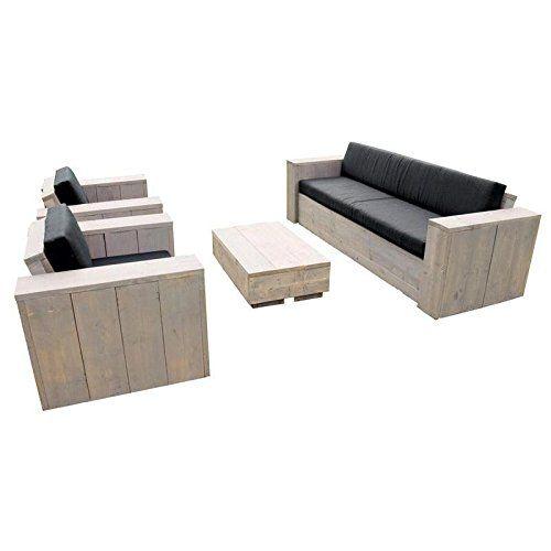 Spectacular Bauholz M bel Gartenm bel Garnitur Lounge Set x Tisch x Stuhl Sessel x Bank rostfarbene