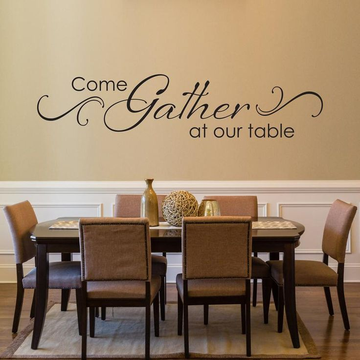 come gather at our table decal with scroll design dining room wall art kitchen quote wall on kitchen decor quotes wall decals id=82783