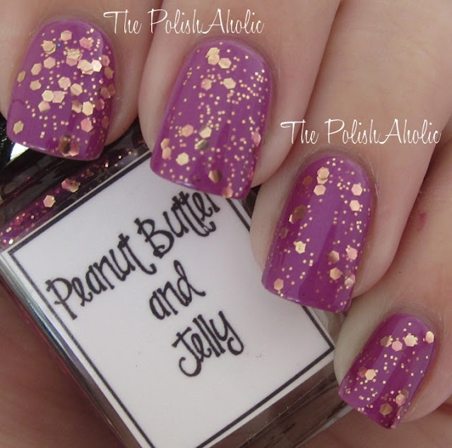 """Whimsical Ideas by Pam """"Peanut Butter & Jelly""""Whimsical Ideas, Pam Peanut, Nails Art, Gold Glitter, Hair Nails Beautiful, Hair Makeup Nails, Fun Nailss, Nails Polish, Peanut Butter"""