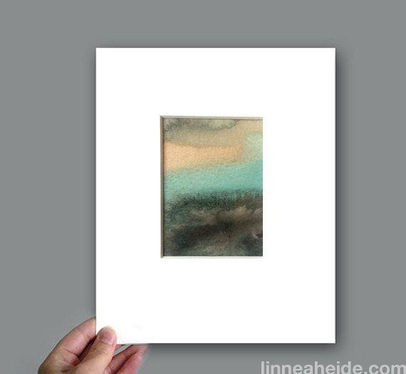 Original Watercolor Painting  modern minimal  by linneaheideart