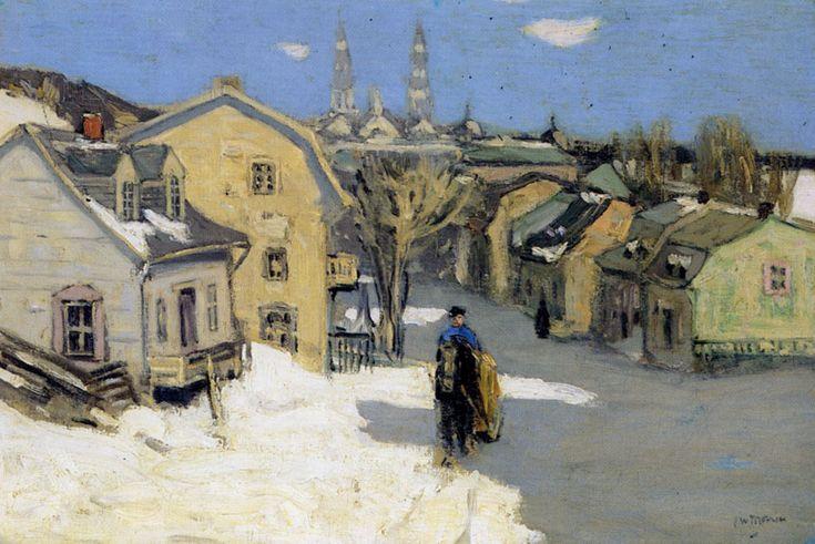 clarence alphonse gagnon the painter | Clarence Alphonse Gagnon, Le Pont de glace a Quebec , 1921.