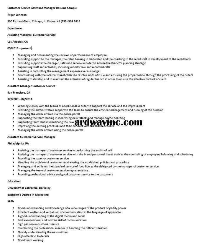 Customer service assistant manager resume sample manager