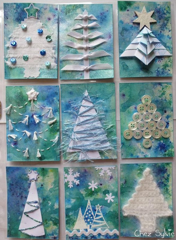 blue white Christmas tree pocket letter